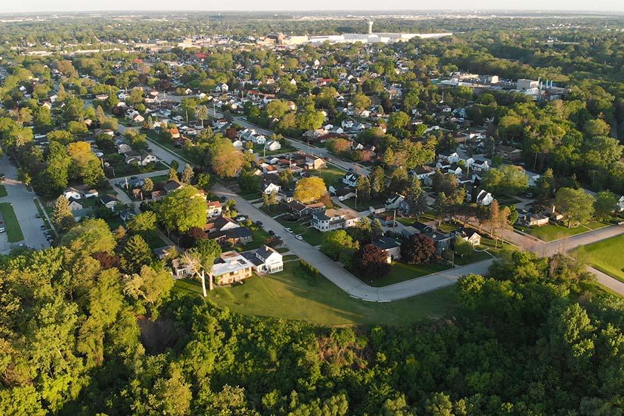 Dedham MA - Aerial View of Small Town Dedham Massachusetts