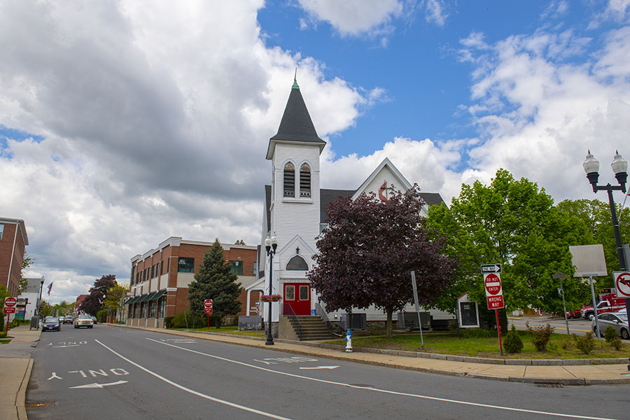 North Easton MA - View of Small Town Street in North Easton Massachusetts