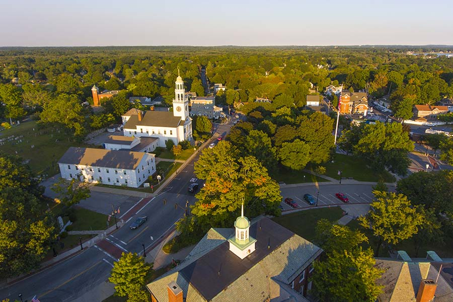 Shirley MA - Aerial View of Small Town Shirley Massachusetts